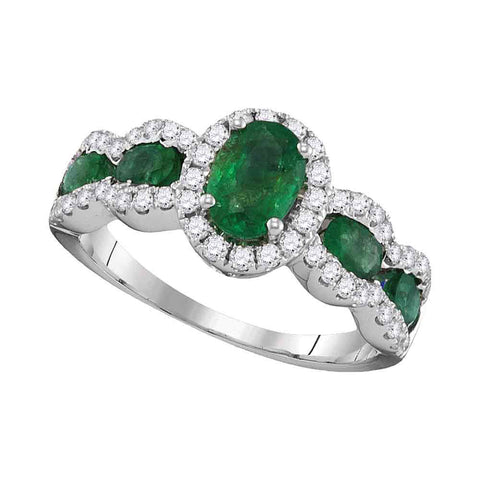 18kt White Gold Womens Oval Emerald Diamond Solitaire Ring 1-3/4 Cttw