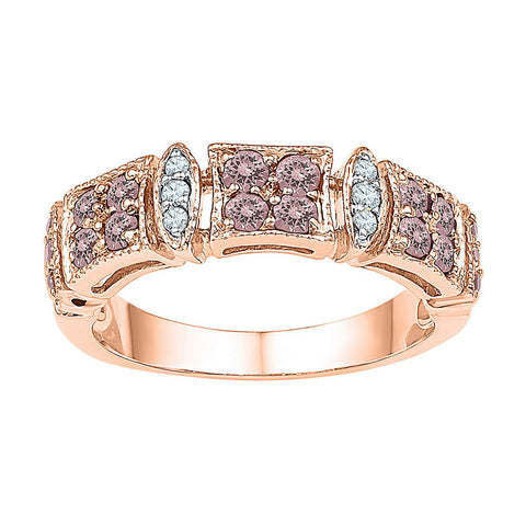 10kt Rose Gold Womens Round Morganite Diamond Band Ring 5/8 Cttw