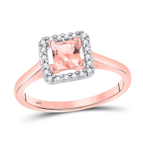 10kt Rose Gold Womens Princess Morganite Diamond Solitaire Ring 1/3 Cttw