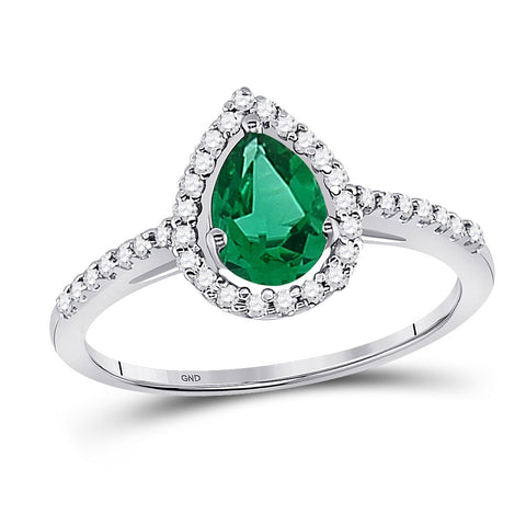 10kt White Gold Womens Pear Lab-Created Emerald Solitaire Ring 1 Cttw