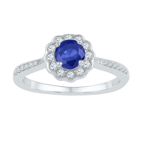 10kt White Gold Womens Round Lab-Created Blue Sapphire Round Ring 1 Cttw