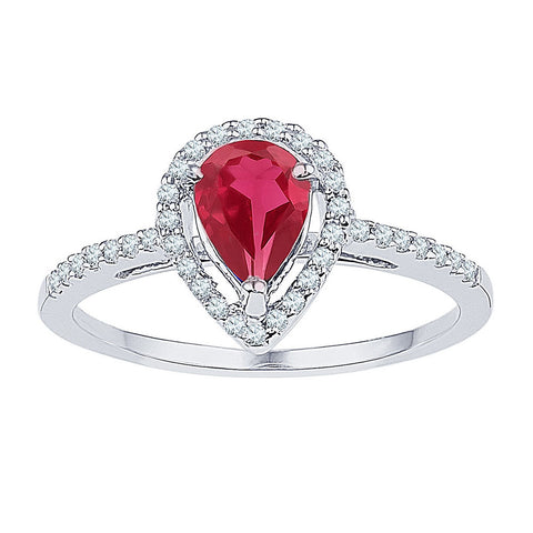 10kt White Gold Womens Pear Lab-Created Ruby Diamond Solitaire Ring 1 Cttw