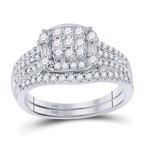 10kt White Gold Round Diamond Bridal Wedding Ring Band Set 3/4 Cttw
