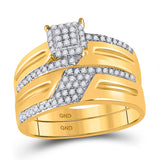 10kt Yellow Gold His Hers Round Diamond Cluster Matching Wedding Set 1/2 Cttw