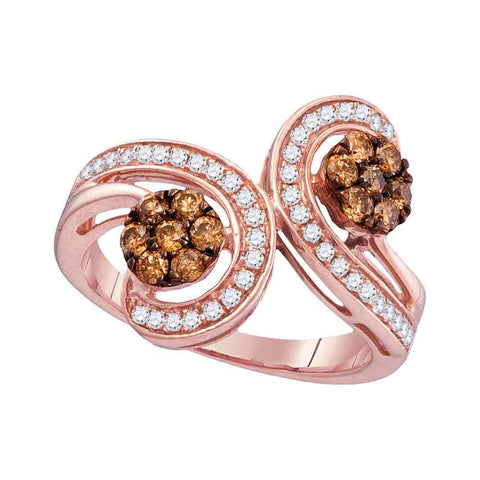 10kt Rose Gold Womens Round Brown Diamond Bypass Flower Cluster Ring 3/4 Cttw
