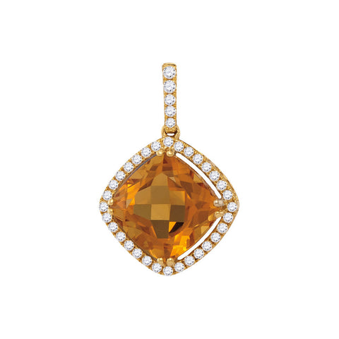 14kt Yellow Gold Womens Cushion Citrine Diamond Solitaire Pendant 2-3/4 Cttw