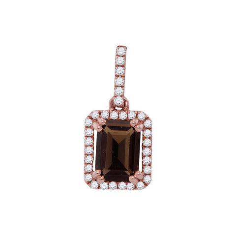 14kt Rose Gold Womens Emerald Smoky Quartz Diamond Solitaire Pendant 1/8 Cttw