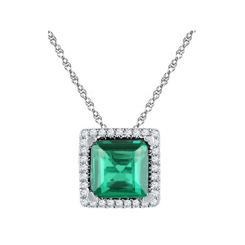 10kt White Gold Womens Princess Lab-Created Emerald Square Pendant 1-3/4 Cttw