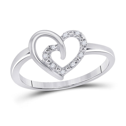 Sterling Silver Womens Round Diamond Heart Ring 1/20 Cttw