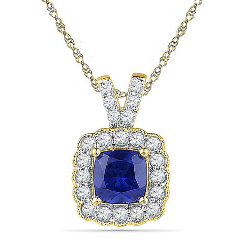 10kt Yellow Gold Womens Round Lab-Created Blue Sapphire Solitaire Pendant 3-1/2 Cttw