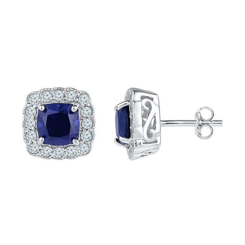 10kt White Gold Womens Cushion Lab-Created Blue Sapphire Stud Earrings 3-1/3 Cttw
