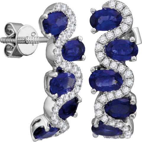 18kt White Gold Womens Oval Blue Sapphire Diamond Fashion Earrings 3 Cttw
