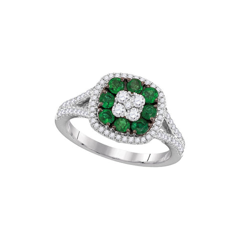 18kt White Gold Womens Round Emerald Diamond Square Cluster Ring 7/8 Cttw