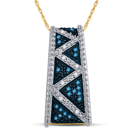 10kt Yellow Gold Womens Round Blue Color Enhanced Diamond Bar Pendant 1/10 Cttw