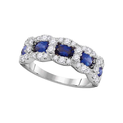 18kt White Gold Womens Oval Blue Sapphire 5-stone Ring 2-3/8 Cttw