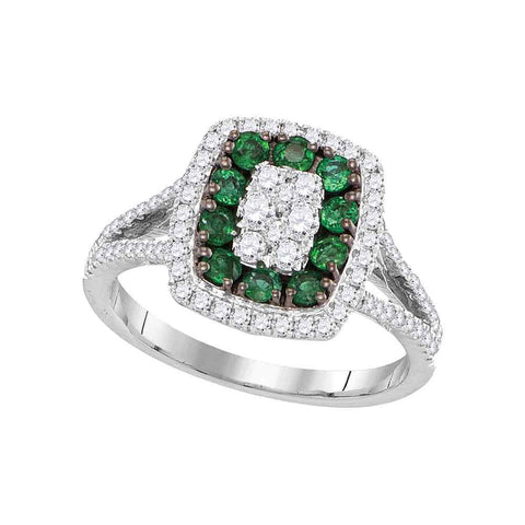 18kt White Gold Womens Round Emerald Diamond Cluster Ring 1 Cttw