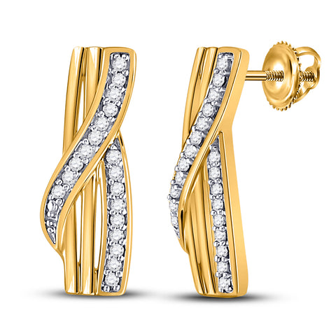10kt Yellow Gold Womens Round Diamond Fashion Earrings 1/20 Cttw