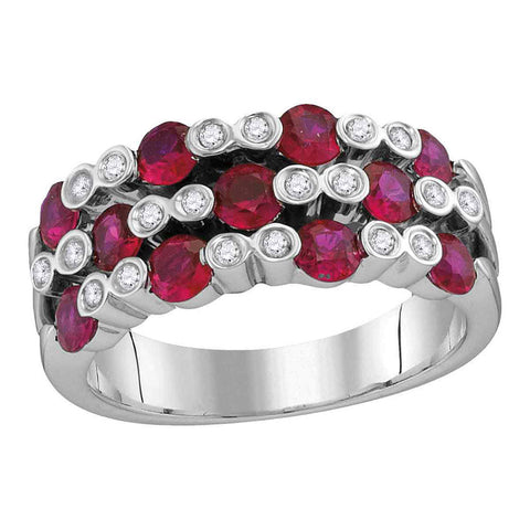 18kt White Gold Womens Round Ruby Diamond Checkered Band Ring 1-3/8 Cttw