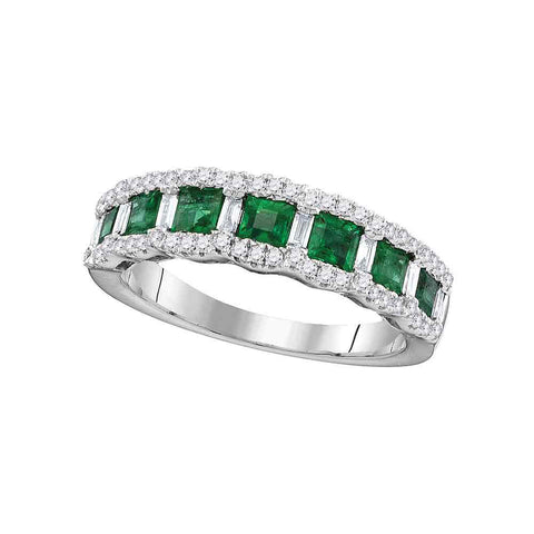 18kt White Gold Womens Princess Emerald Diamond Band Ring 1-1/4 Cttw