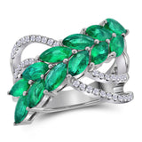 18kt White Gold Womens Marquise Emerald Fashion Ring 2-1/2 Cttw