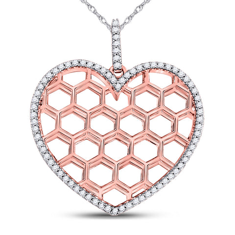 10kt Two-tone Gold Womens Round Diamond Honeycomb Heart Pendant 1/5 Cttw