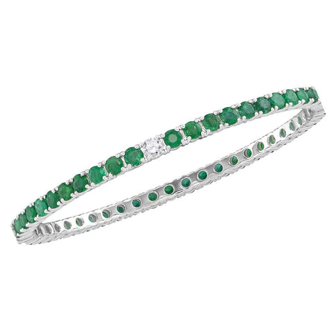 18kt White Gold Womens Emerald Lab-Created Emerald Bangle Bracelet 7-5/8 Cttw