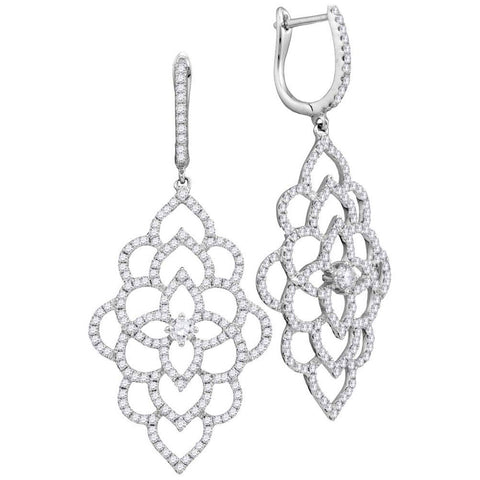 18kt White Gold Womens Round Diamond Petals Cocktail Dangle Earrings 1-3/8 Cttw