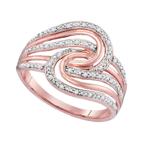 10kt Rose Gold Womens Round Diamond Swirl Strand Fashion Ring 1/10 Cttw
