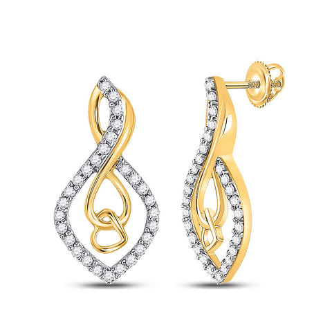 10kt Yellow Gold Womens Round Diamond Fashion Earrings 1/5 Cttw