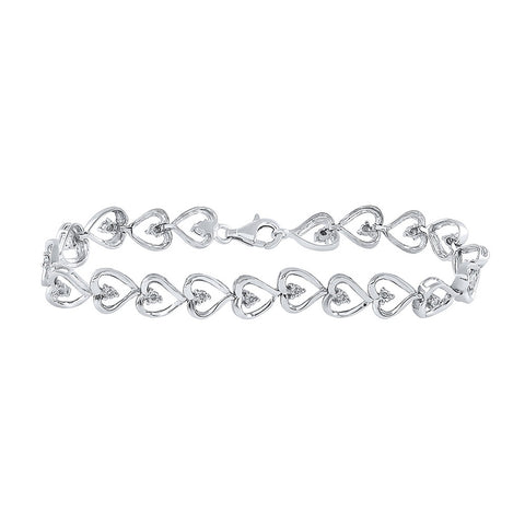 Sterling Silver Womens Round Diamond Heart Link Bracelet 1/10 Cttw