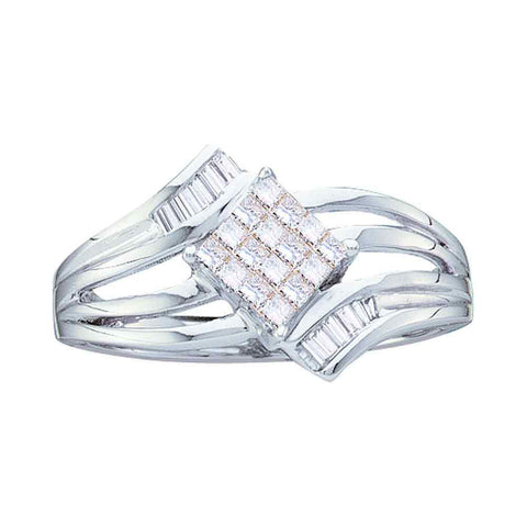 14kt White Gold Womens Princess Diamond Offset Square Cluster Ring 1/4 Cttw