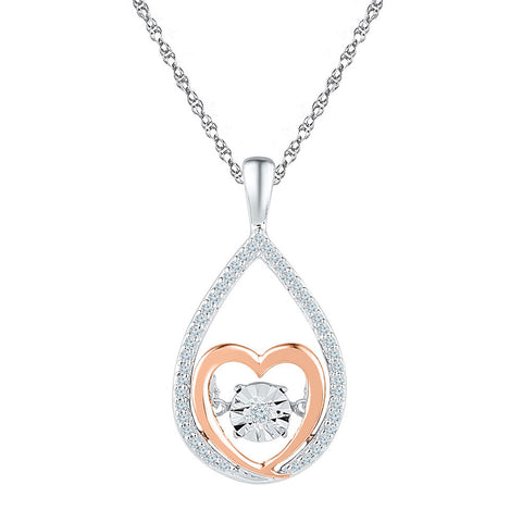 10kt Two-tone Gold Womens Round Diamond Moving Twinkle Heart Pendant 1/8 Cttw