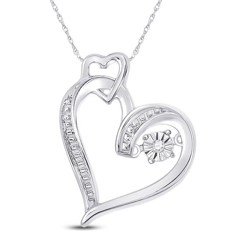 Sterling Silver Womens Round Diamond Moving Twinkle Heart Pendant .01 Cttw
