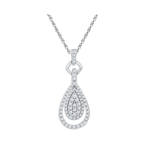 10kt White Gold Womens Round Diamond Teardrop Pendant 1/2 Cttw