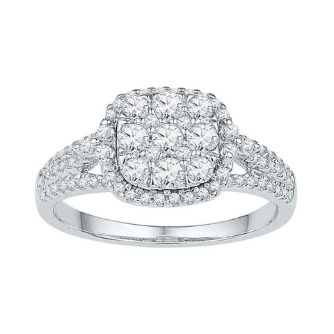 10kt White Gold Womens Round Diamond Square Cluster Ring 3/4 Cttw