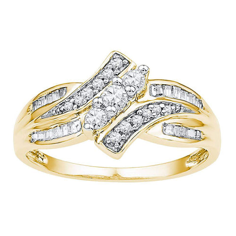 10kt Yellow Gold Womens Round Diamond Bypass 3-stone Ring 1/3 Cttw