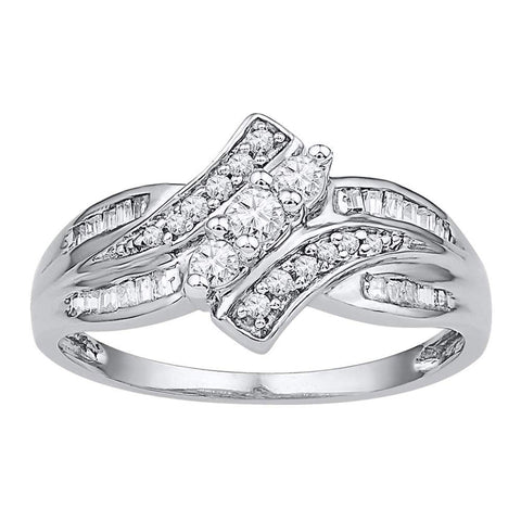 10kt White Gold Womens Round Diamond 3-stone Ring 1/3 Cttw