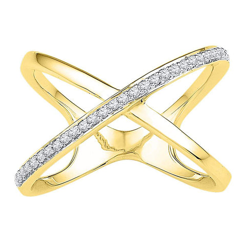 10kt Yellow Gold Womens Round Diamond Negative Space Crossover Band Ring 1/6 Cttw