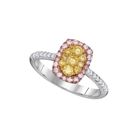 14kt White Gold Womens Round Yellow Pink Diamond Cluster Ring 5/8 Cttw