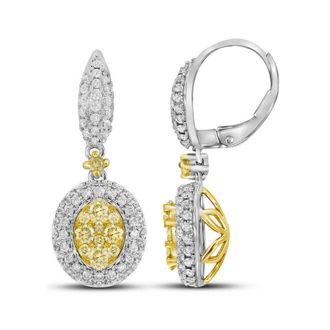 14kt White Gold Womens Round Yellow Diamond Oval Dangle Earrings 1-1/3 Cttw