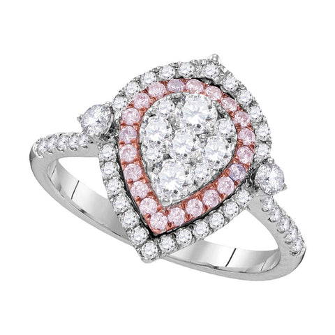 14kt White Gold Womens Round Pink Diamond Teardrop Cluster Ring 1 Cttw