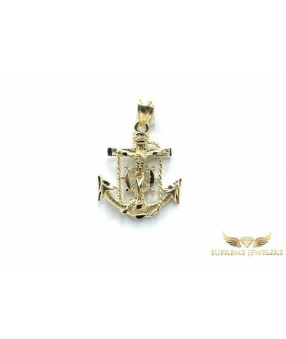 10K Gold Diamond Cut Anchor Pendant