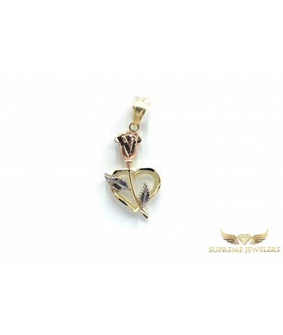 10K Gold Rose & Heart Pendant