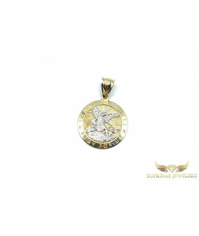10K Gold Saint Micheal Coin Pendant