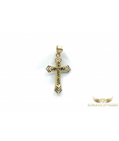 10K Gold Nugget/Diamond Cut Cross