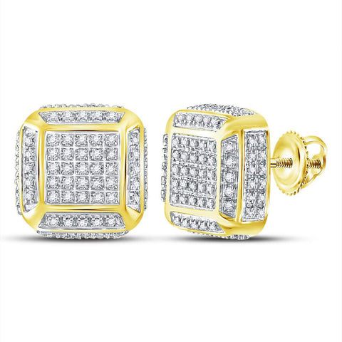 10kt Yellow Gold Mens Round Diamond Square Earrings 1/2 Cttw