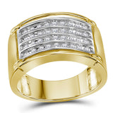 10kt Yellow Gold Mens Round Diamond Four Row Band Ring 1/2 Cttw