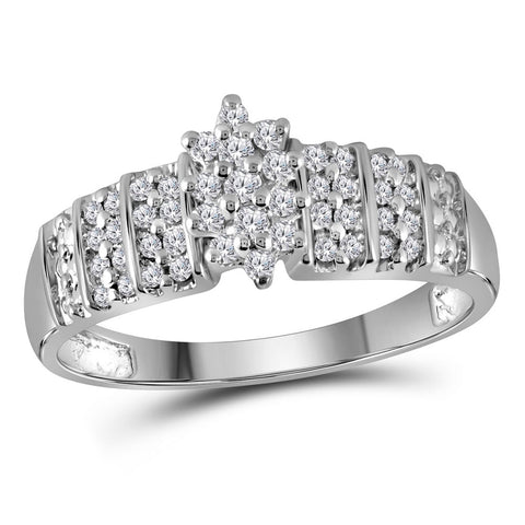 10kt White Gold Womens Round Diamond Marquise-shape Cluster Ring 1/4 Cttw