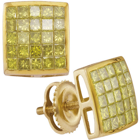 10kt Yellow Gold Mens Princess Yellow Color Enhanced Diamond Square Earrings 1 Cttw