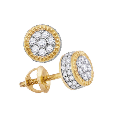 10kt Yellow Gold Mens Round Diamond Fluted Flower Cluster Stud Earrings 1/2 Cttw